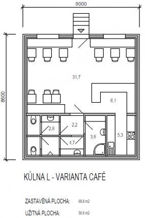 půdorys modulu L řady Universal - varianta CAFÉ - dřevostavby KŮLNA