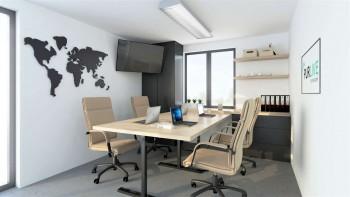 Vizualizace modulu M řady Universal - pohled dovnitř kanceláře - dřevostavby KŮLNA