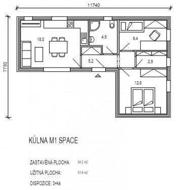 půdorys modulu M řady Space - dřevostavby KŮLNA - 1.varianta