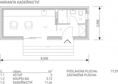 půdorys modulu S řady Universal - varianta kadeřnictví - dřevostavby KŮLNA