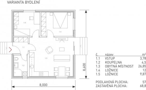 půdorys modulu L řady Universal - varianta bydlení - dřevostavby KŮLNA